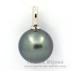 Rhodiated Sterling Silver Pendant and 1 Tahitian Pearl Round C 15 mm