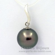.925 Solid Silver Pendant and 1 tahitian Pearl Round C 12.1 mm