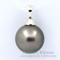 .925 Solid Silver Pendant and 1 tahitian Pearl Round C 12.4 mm