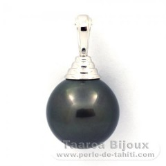 .925 Solid Silver Pendant and 1 tahitian Pearl Round C 12.7 mm