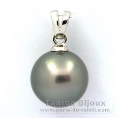 Rhodiated Sterling Silver Pendant and 1 Tahitian Pearl Round C 13.4 mm