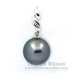 .925 Solid Silver Pendant and 1 Tahitian Pearl Round C 12.8 mm