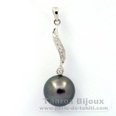 Rhodiated Sterling Silver Pendant and 1 Tahitian Pearl Round C 11.3 mm