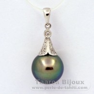 Rhodiated Sterling Silver Pendant and 1 Tahitian Pearl Near-Round C+ 11.5 mm