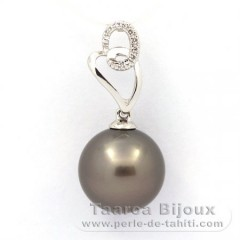 Rhodiated Sterling Silver Pendant and 1 Tahitian Pearl Round C 11.5 mm