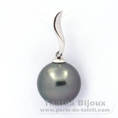 .925 Solid Silver Pendant and 1 Tahitian Pearl Round C 11.5 mm
