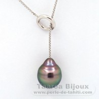Rhodiated Sterling Silver Necklace and 1 Tahitian Pearl Ringed B 11 mm