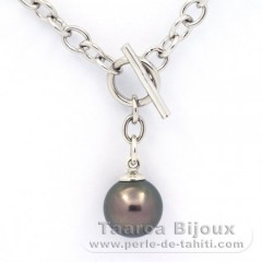 Rhodiated Sterling Silver Bracelet and 1 Tahitian Pearl Round C 11.1 mm
