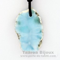Waxed cotton Necklace and 1 Larimar - 37 x 23 x 6 mm - 10.3 gr