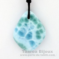 Waxed cotton Necklace and 1 Larimar - 39 x 30 x 7 mm - 13.9 gr