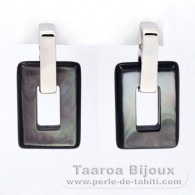 Rhodiated Sterling Silver Earrings and Tahitian Mother-of-Pearl
