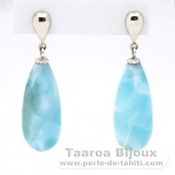Rhodiated Sterling Silver Earrings and 2 Larimar - 24 x 9.7 x 7 mm - 5.25 gr