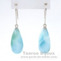 14K White solid Gold Earrings and 2 Larimar - 17.5 x 7.5 mm - 3.05 gr