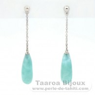 Rhodiated Sterling Silver Earrings and 2 Larimar - 18 x 7 x 6.5 mm - 2.6 gr