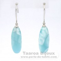Rhodiated Sterling Silver Earrings and 2 Larimar - 22 x 8.5 x 7.5 mm - 5.03 gr