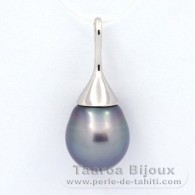 .925 Solid Silver Pendant and 1 Tahitian Pearl Semi-Baroque C 12.6 mm