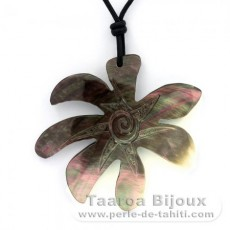 Uru Leaf Mother-of-Pearl Pendant (Pinctada Margaritifera) and Leather Necklace