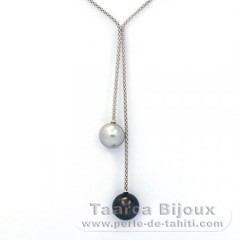 .925 Solid Silver Necklace and 2 Tahitian Pearls Round C+ 11.6 and 12.2 mm