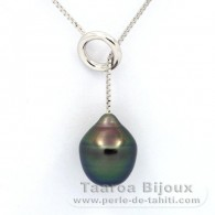 .925 Solid Silver Necklace and 1 tahitian Pearl Semi-Baroque B 11.2 mm