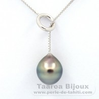 .925 Solid Silver Necklace and 1 tahitian Pearl Semi-Baroque B 11.1 mm