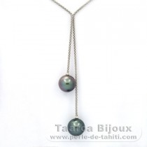 Rhodiated Sterling Silver Necklace and 2 Tahitian Pearls Round C 12.6 and 12.8 mm