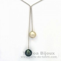 .925 Solid Silver Necklace and 2 Tahitian Pearls Round C 12.3 and 12.5 mm