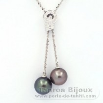 .925 Solid Silver Necklace and 2 Tahitian Pearls Round C 11.6 and 11.7 mm