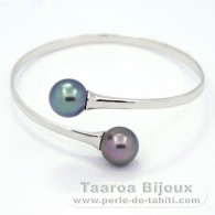 Rhodiated Sterling Silver Bracelet and 2 Tahitian Pearls Round C 11.5 mm