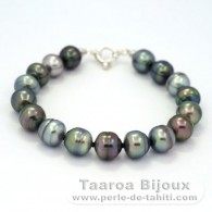 17 Tahitian Pearls Ringed C+ 10 to 10.3 mm Bracelet and .925 Solid Silver