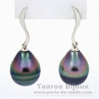 Rhodiated Sterling Silver Earrings and 2 Tahitian Pearls Ringed C 10.5 mm