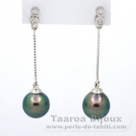 Rhodiated Sterling Silver Earrings and 2 Tahitian Pearls Semi-Baroque B 8.6 mm