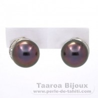 Rhodiated Sterling Silver Earrings and 2 Tahitian Pearls Round C+ 10 mm