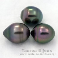 Lot of 3 Tahitian Pearls Ringed B from 10.6 to 10.9 mm