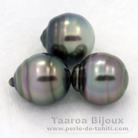 Lot of 3 Tahitian Pearls Ringed B from 9.6 to 9.7 mm