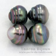 Lot of 4 Tahitian Pearls Ringed C from 9.5 to 9.7 mm