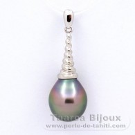 .925 Solid Silver Pendant and 1 Tahitian Pearl Semi-Baroque B 10.3 mm