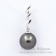 .925 Solid Silver Pendant and 1 tahitian Pearl Round C 9.2 mm