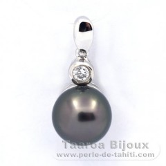 Rhodiated Sterling Silver Pendant and 1 Tahitian Pearl Round C 9 mm