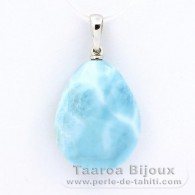 18K Solid White Gold Pendant and 1 Larimar - 22 x 16.8 x 8.4 mm - 4.8 gr
