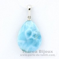 18K Solid White Gold Pendant and 1 Larimar - 19.5 x 14.5 x 6.9 mm - 2.9 gr