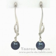 Rhodiated Sterling Silver Earrings and 2 Tahitian Pearls Round 1 B & 1 C 8.1 mm