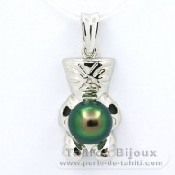 Rhodiated Sterling Silver Pendant and 1 Tahitian Pearl Semi-Baroque C+ 9 mm