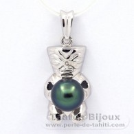 Rhodiated Sterling Silver Pendant and 1 Tahitian Pearl Semi-Baroque B+ 8.8 mm