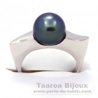 .925 Solid Silver + Rhodium Ring and 1 Tahitian Pearl Round B+ 9.3 mm