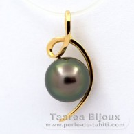 18K solid Gold Pendant and 1 Tahitian Pearl Round A 8.6 mm