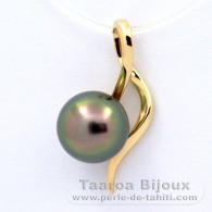 18K solid Gold Pendant and 1 Tahitian Pearl Near-Round A 8.3 mm