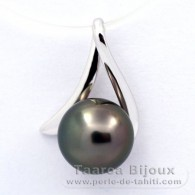 18K Solid White Gold Pendant and 1 Tahitian Pearl Round A 8.1 mm