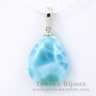 .925 Solid Silver Pendant and 1 Larimar - 18 x 14.3 x 5.3 mm - 2.2 gr