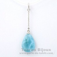 Rhodiated Sterling Silver Pendant and 1 Larimar - 16 x 11.5 x 4.3 mm - 1.35 gr