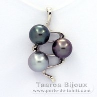 Rhodiated Sterling Silver Pendant and 3 Tahitian Pearls Round C  9.5 to 9.7 mm
